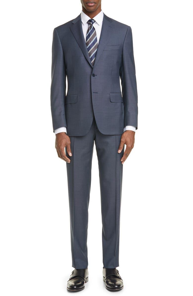 CANALI Siena Soft Classic Fit Mélange Wool Suit, Main, color, BLUE