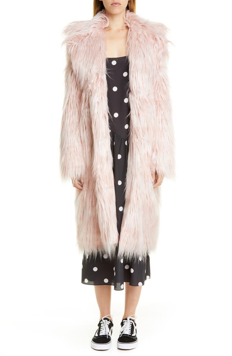 SANDY LIANG Long Faux Fur Coat, Main, color, PINK TINSEL