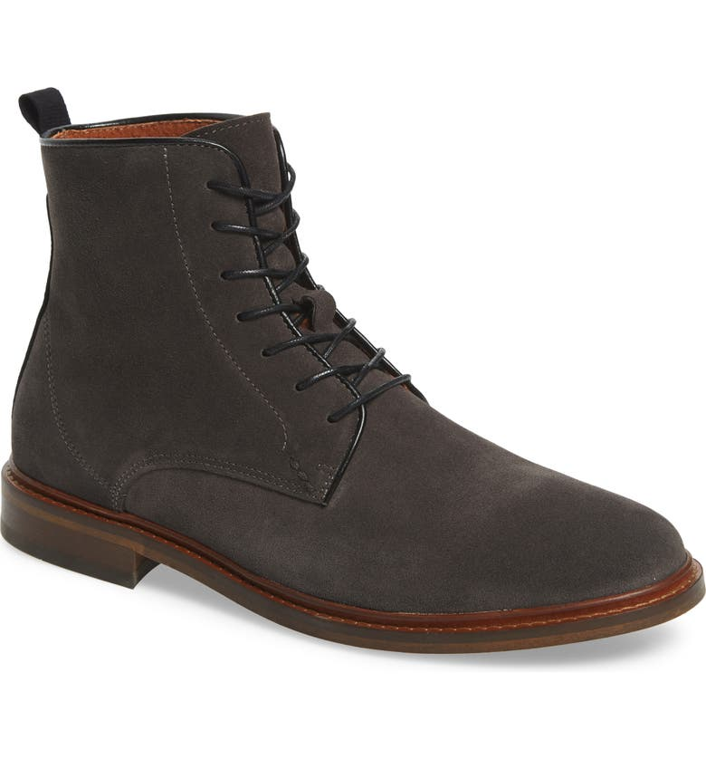 SHOE THE BEAR Ned Water Resistant Plain Toe Boot, Main, color, GREY/ GREY