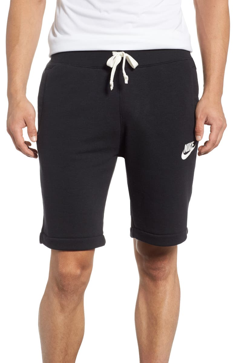 NIKE Heritage Knit Shorts, Main, color, BLACK/ SAIL