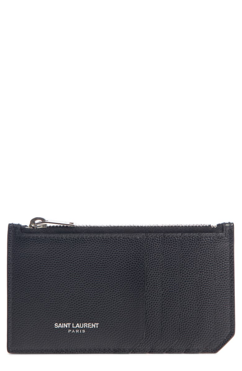 SAINT LAURENT Pebble Grain Leather Zip Wallet, Main, color, DARK BLUE
