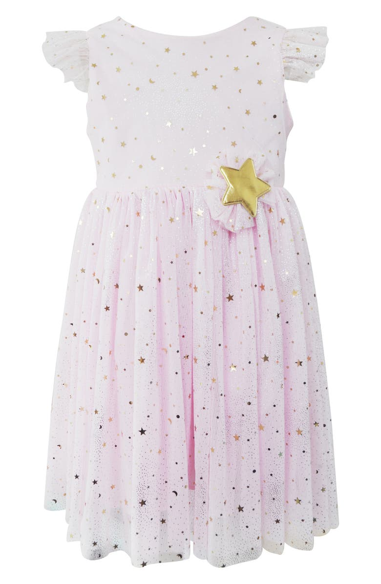 POPATU Metallic Moon & Star Tulle Dress, Main, color, PINK