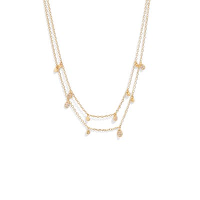 Nordstrom Double Strand Pave & Metal Drop Necklace