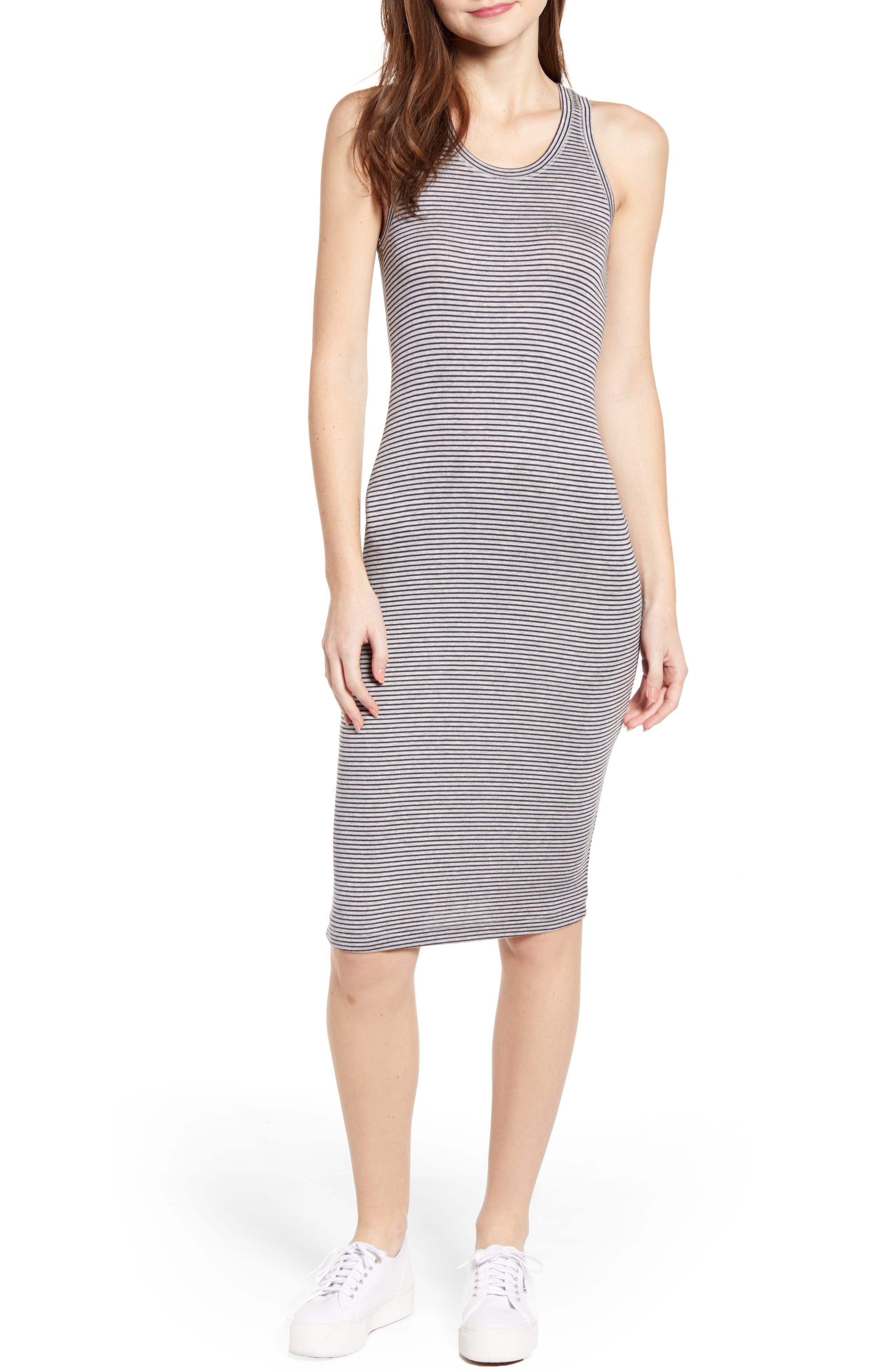 Splendid Stripe Knit Tank Dress, Grey
