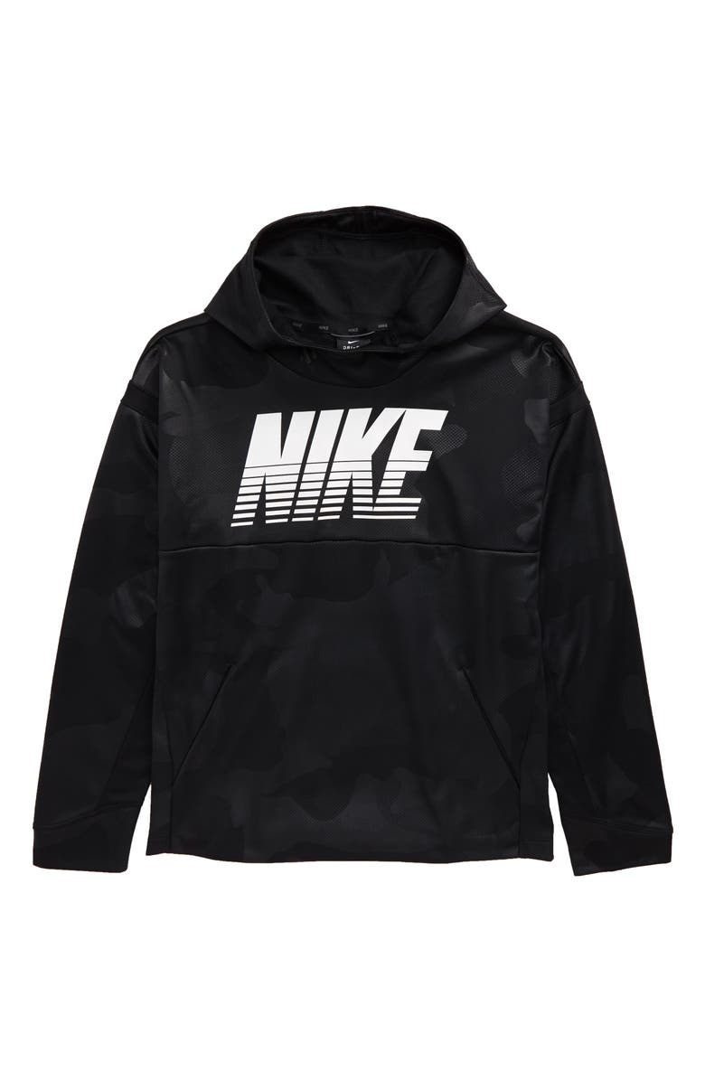 NIKE Therma Hoodie, Main, color, BLACK/ WHITE