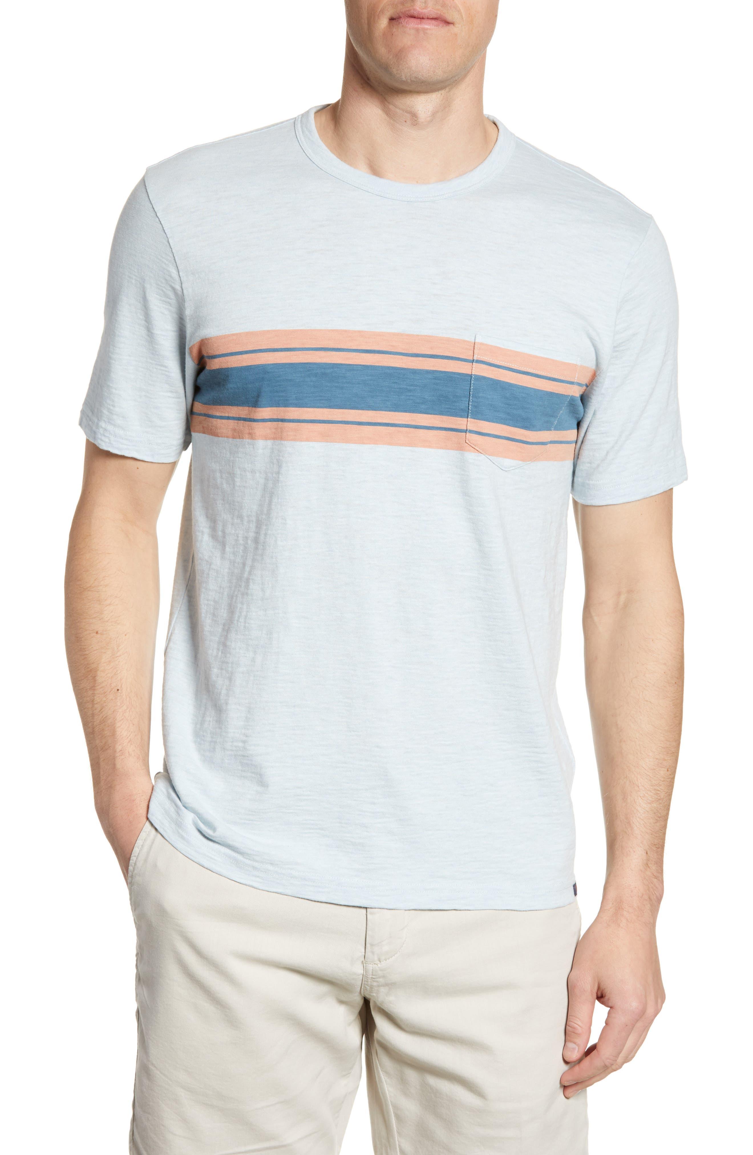 Faherty Surf Stripe Pocket T-Shirt, Red