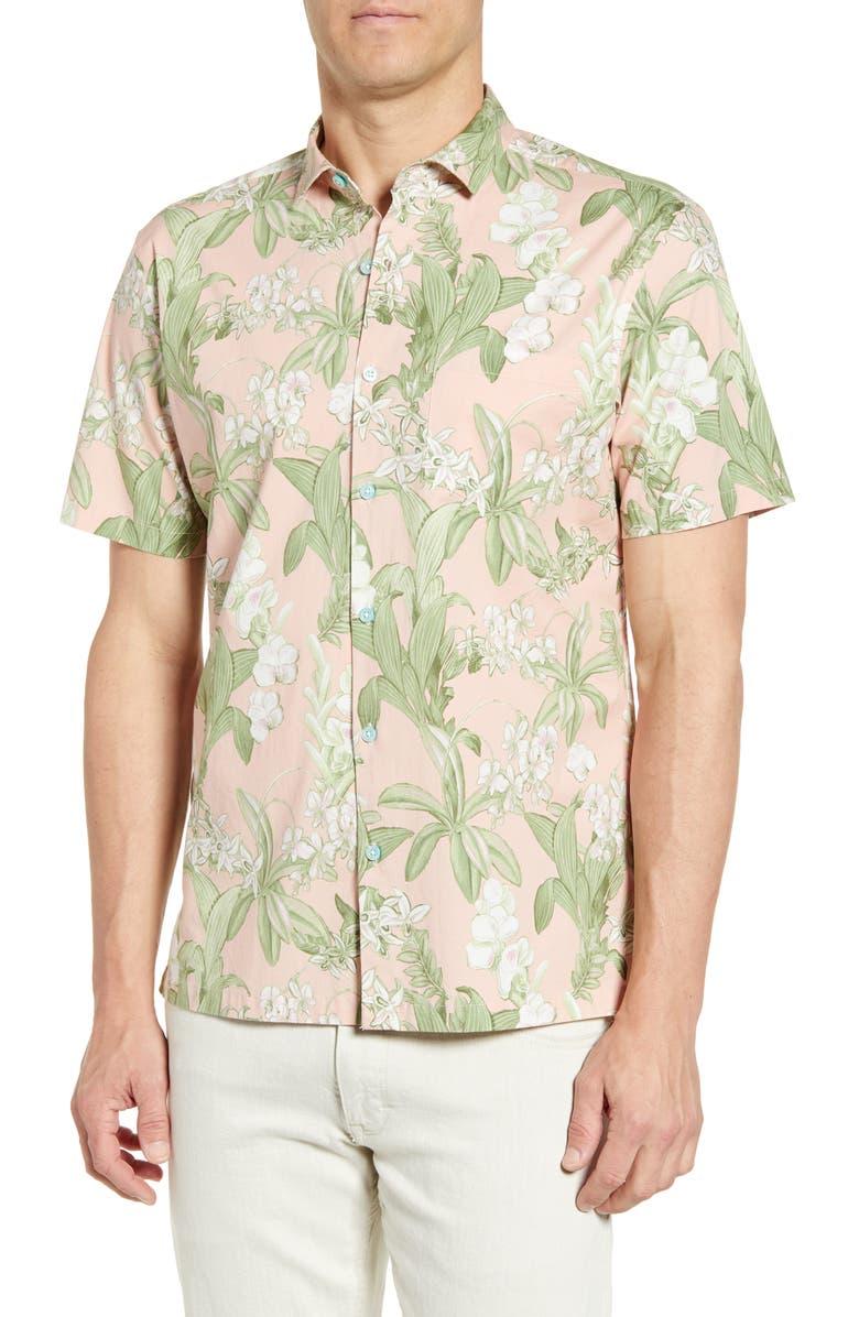 TORI RICHARD Botanist Short Sleeve Floral Button-Up Shirt, Main, color, PINK