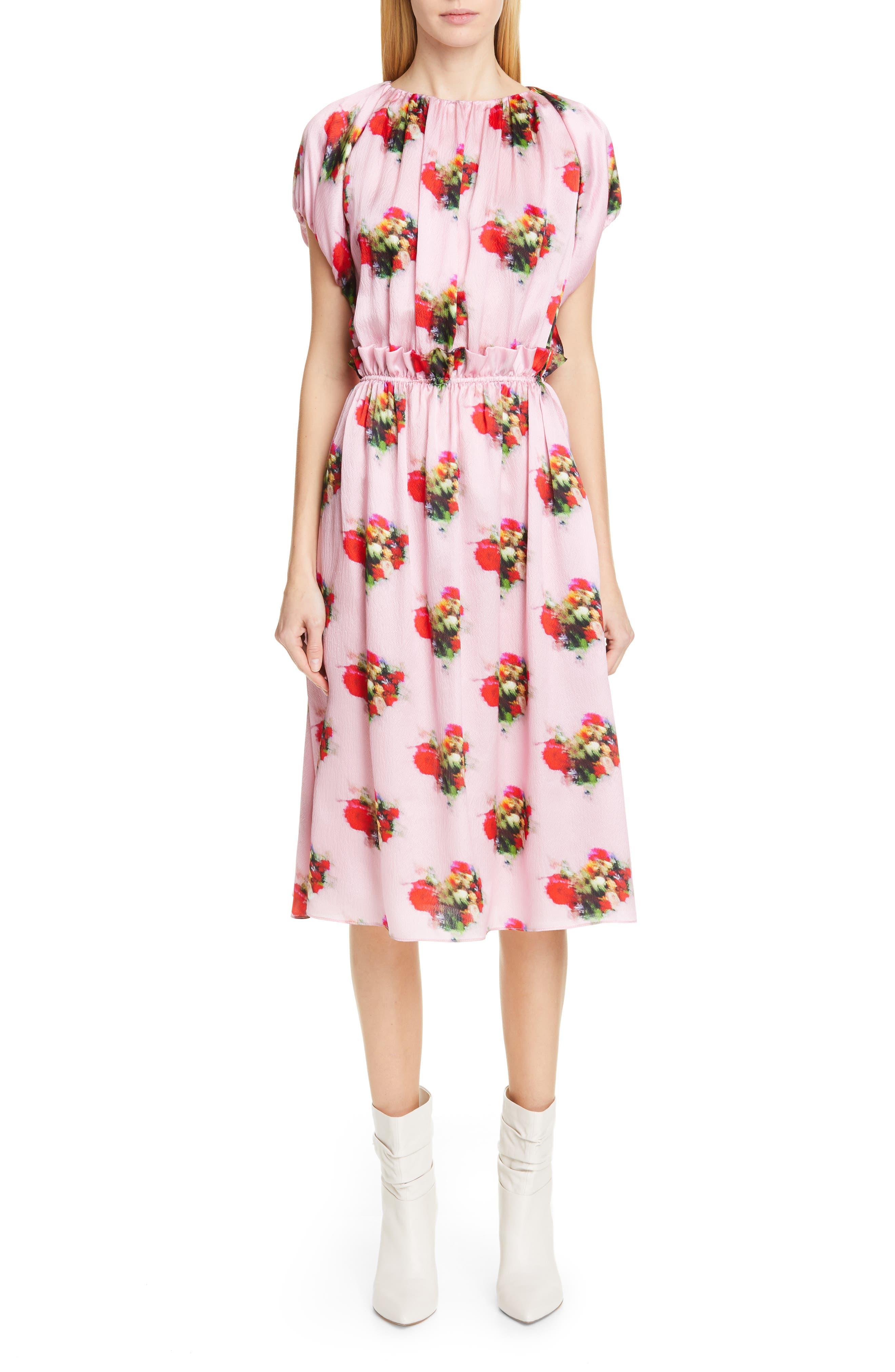 Adam Lippes Floral Print Silk Dress, Pink