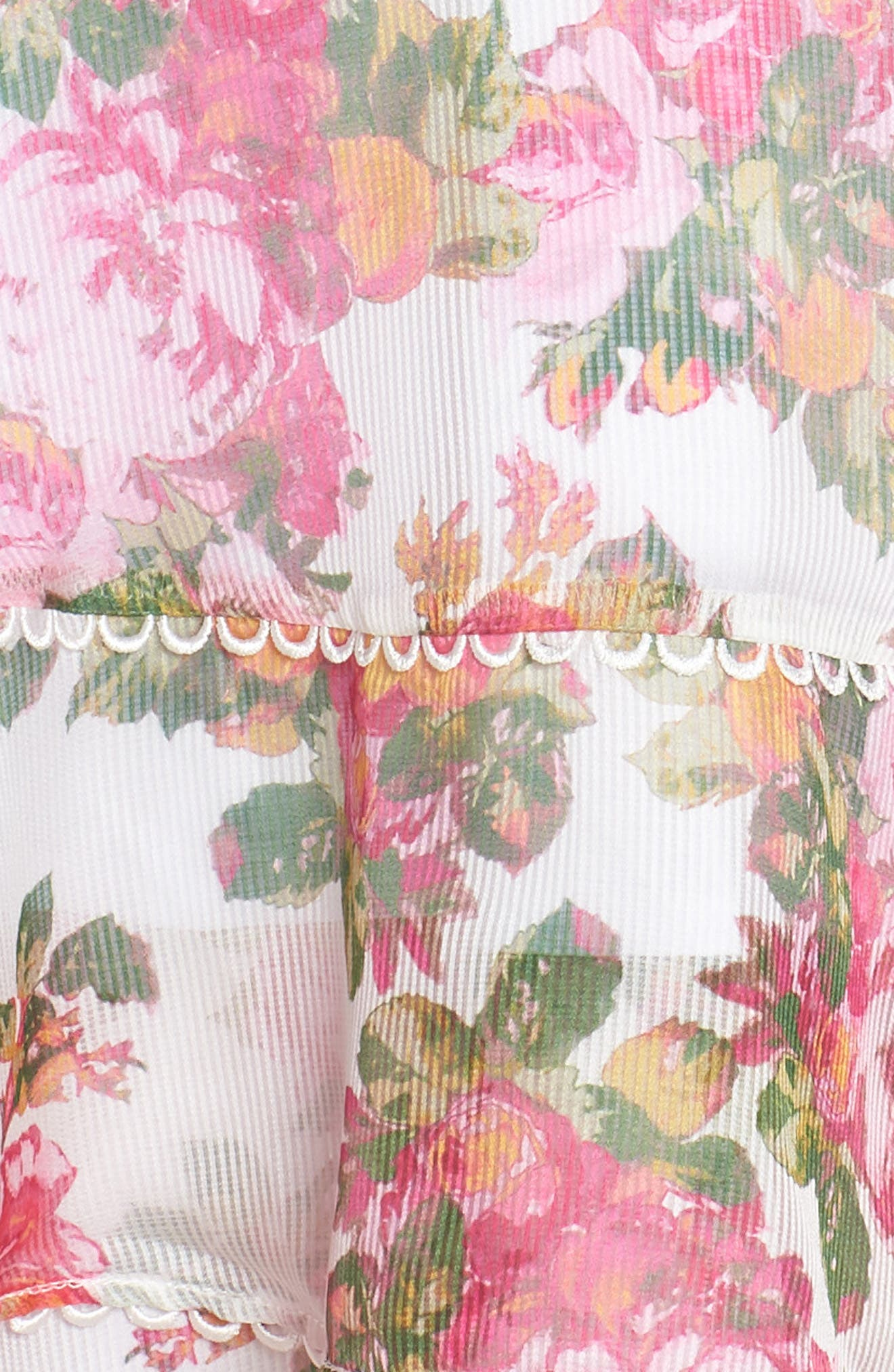 ,                             Oblivion Long Sleeve Minidress,                             Alternate thumbnail 6, color,                             IVORY ROSE FLORAL