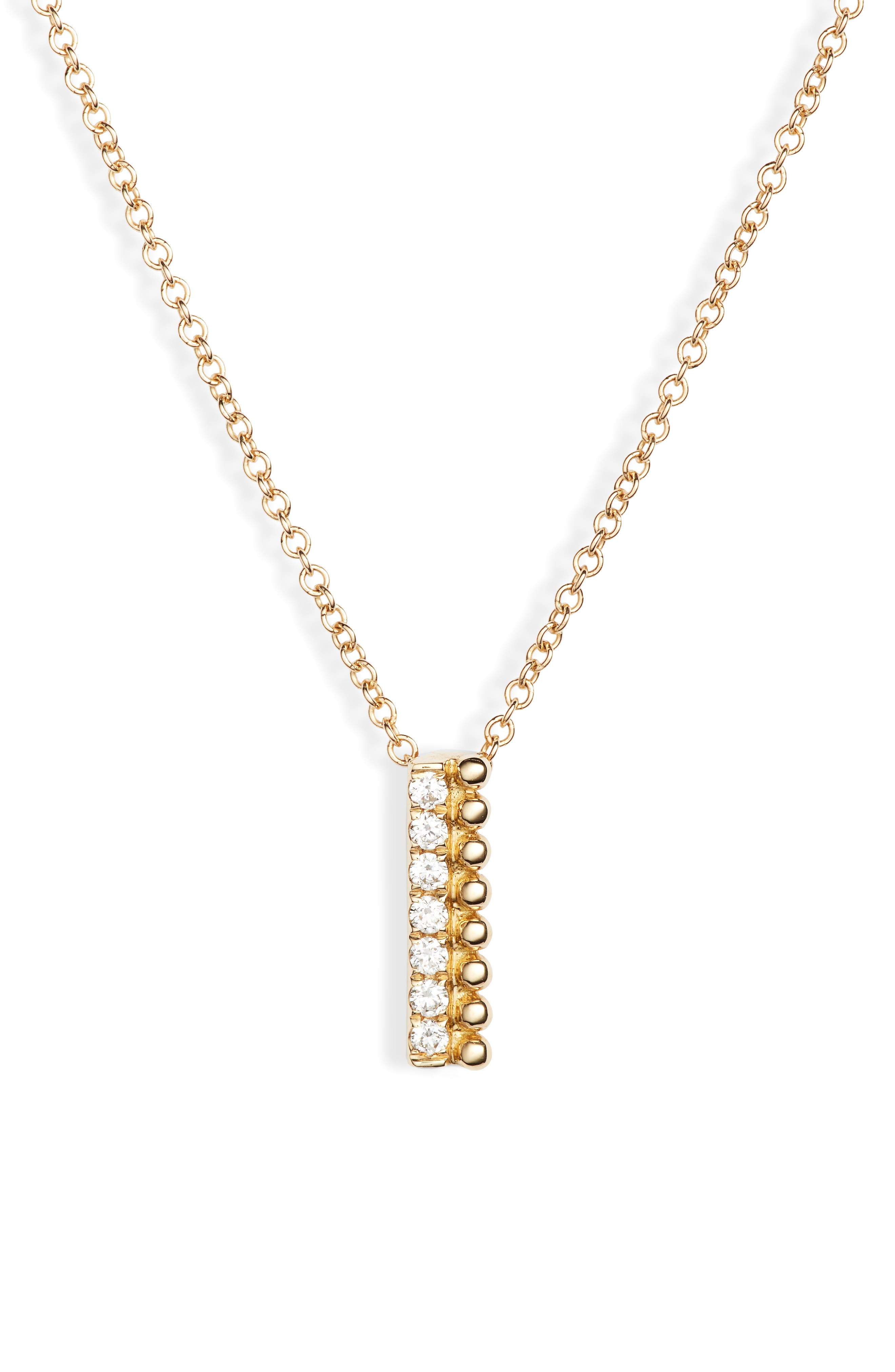 Diamond & Gold Bead Pendant Necklace (Nordstrom Exclusive)