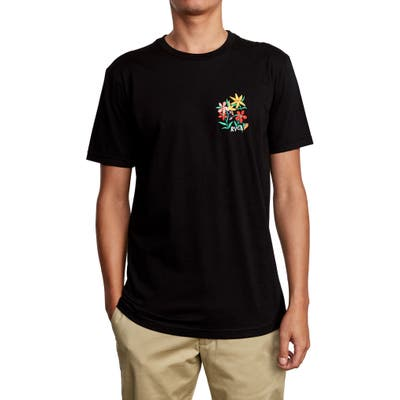 Rvca Floral Embroidered T-Shirt, Black