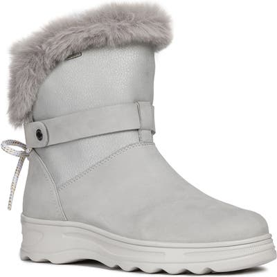 Geox Hosmos Abx Waterproof Faux Fur Trim Boot, Grey