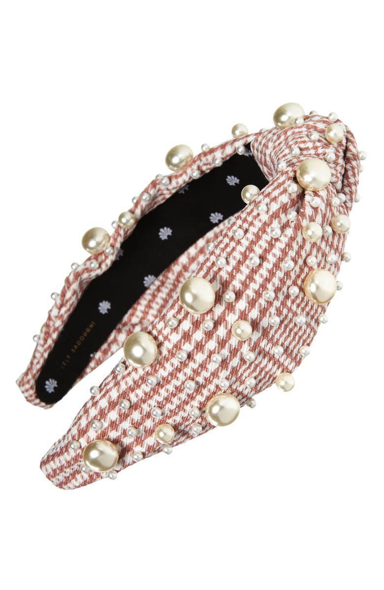 LELE SADOUGHI Pearly Bead Headband, Main, color, MAUVE HOUNDSTOOTH