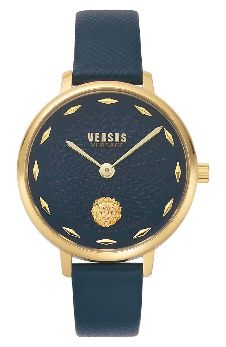 VERSUS VERSACE La Villette Leather Strap Watch, 36mm, Main, color, BLUE/ GOLD