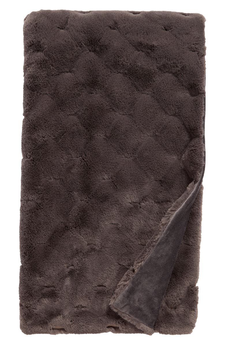 NORDSTROM Geo Jacquard Faux Fur Throw, Main, color, GREY PAVEMENT