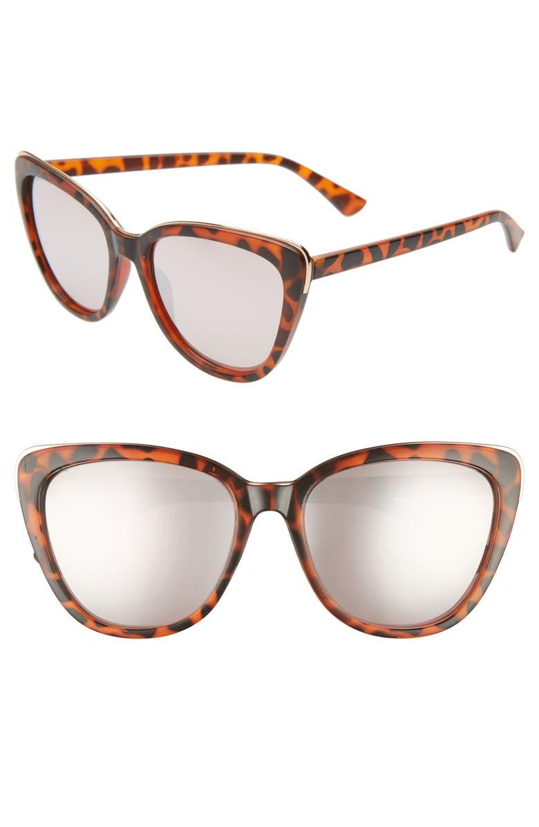 BP. 61mm Mirrored Cat Eye Sunglasses, Main, color, 200