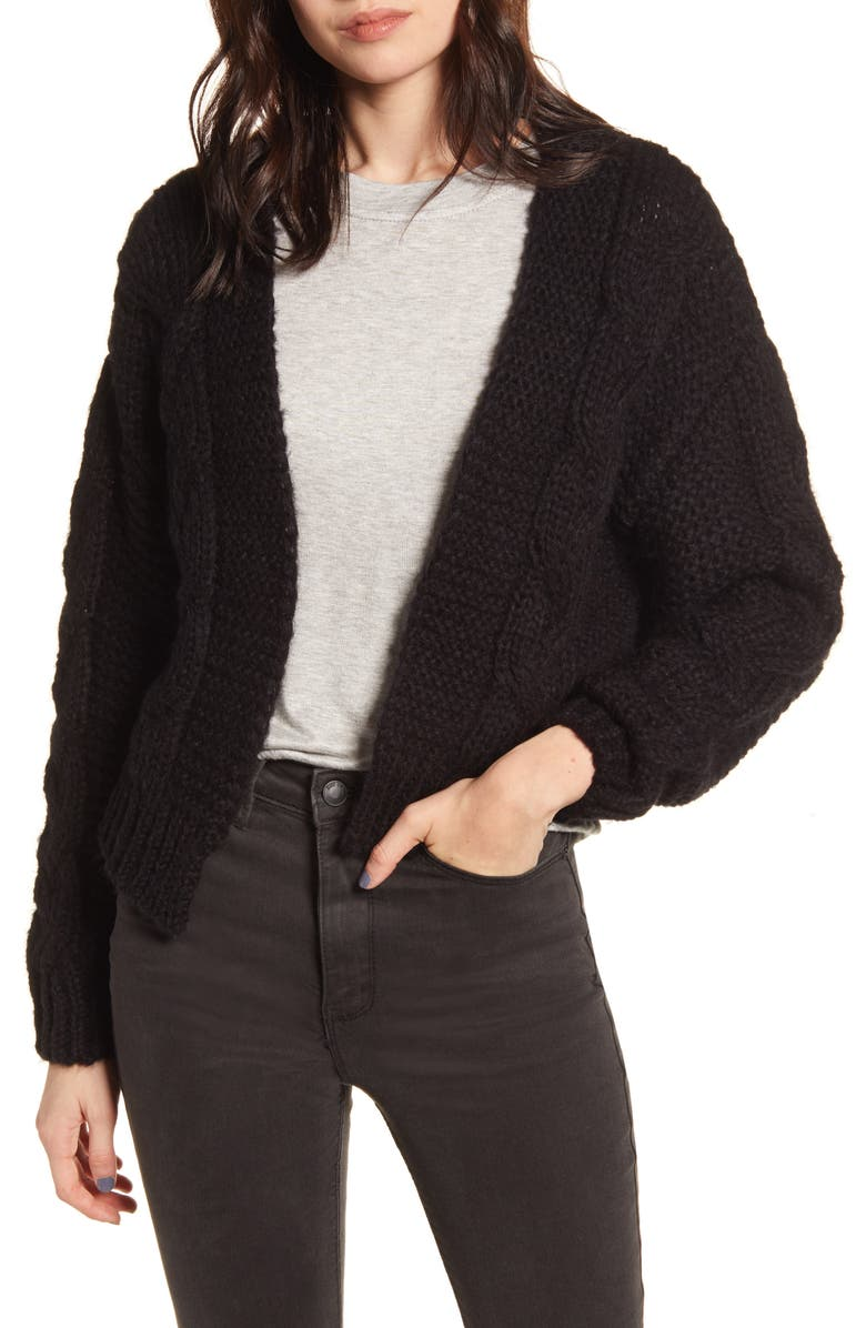 KIRIOUS Texture Open Front Cardigan, Main, color, BLACK
