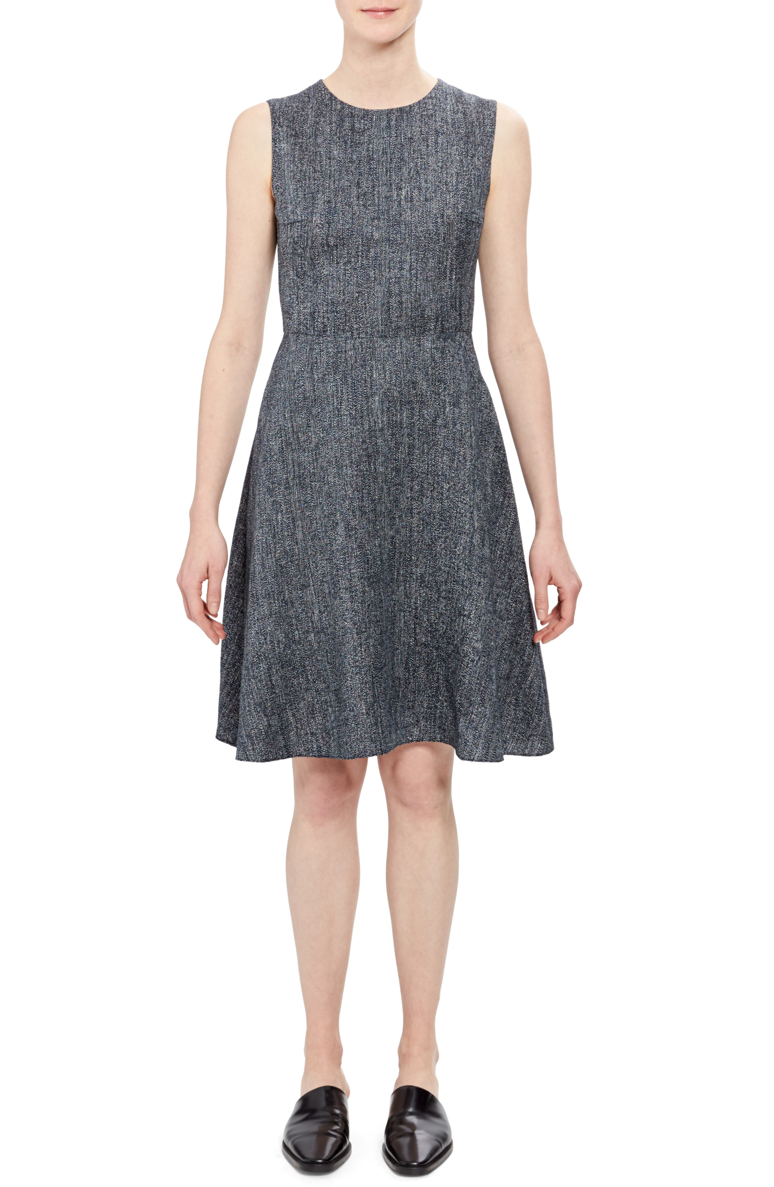 Theory Herring Fit & Flare Dress, Blue