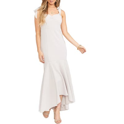Show Me Your Mumu Barcelona Stretch Crepe Trumpet Gown, Beige