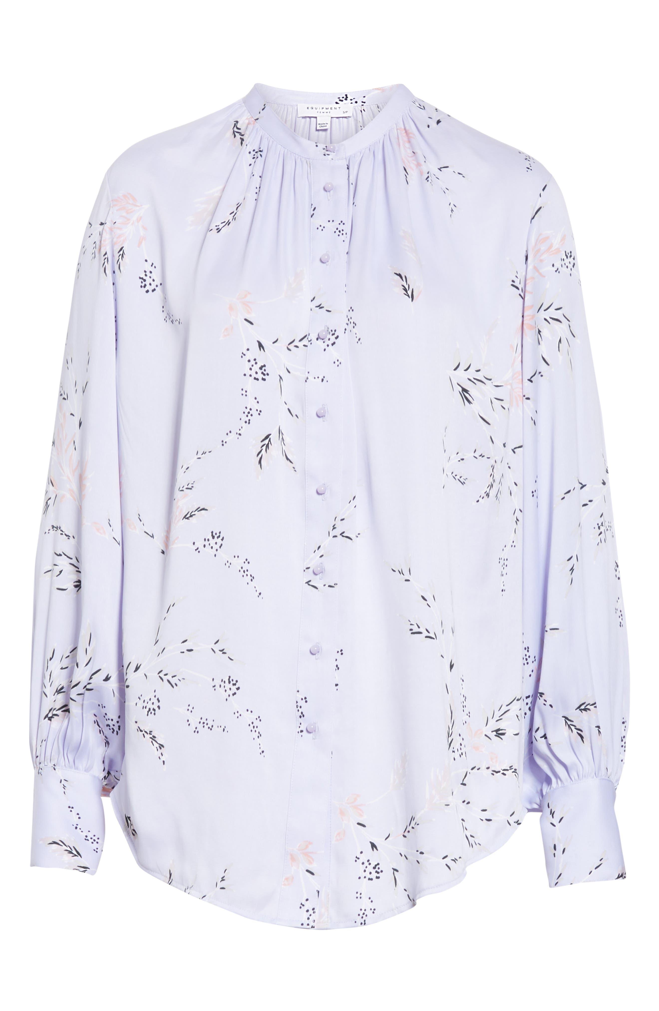 ,                             Causette Silk Blend Shirt,                             Alternate thumbnail 6, color,                             LAVENDER MULTI