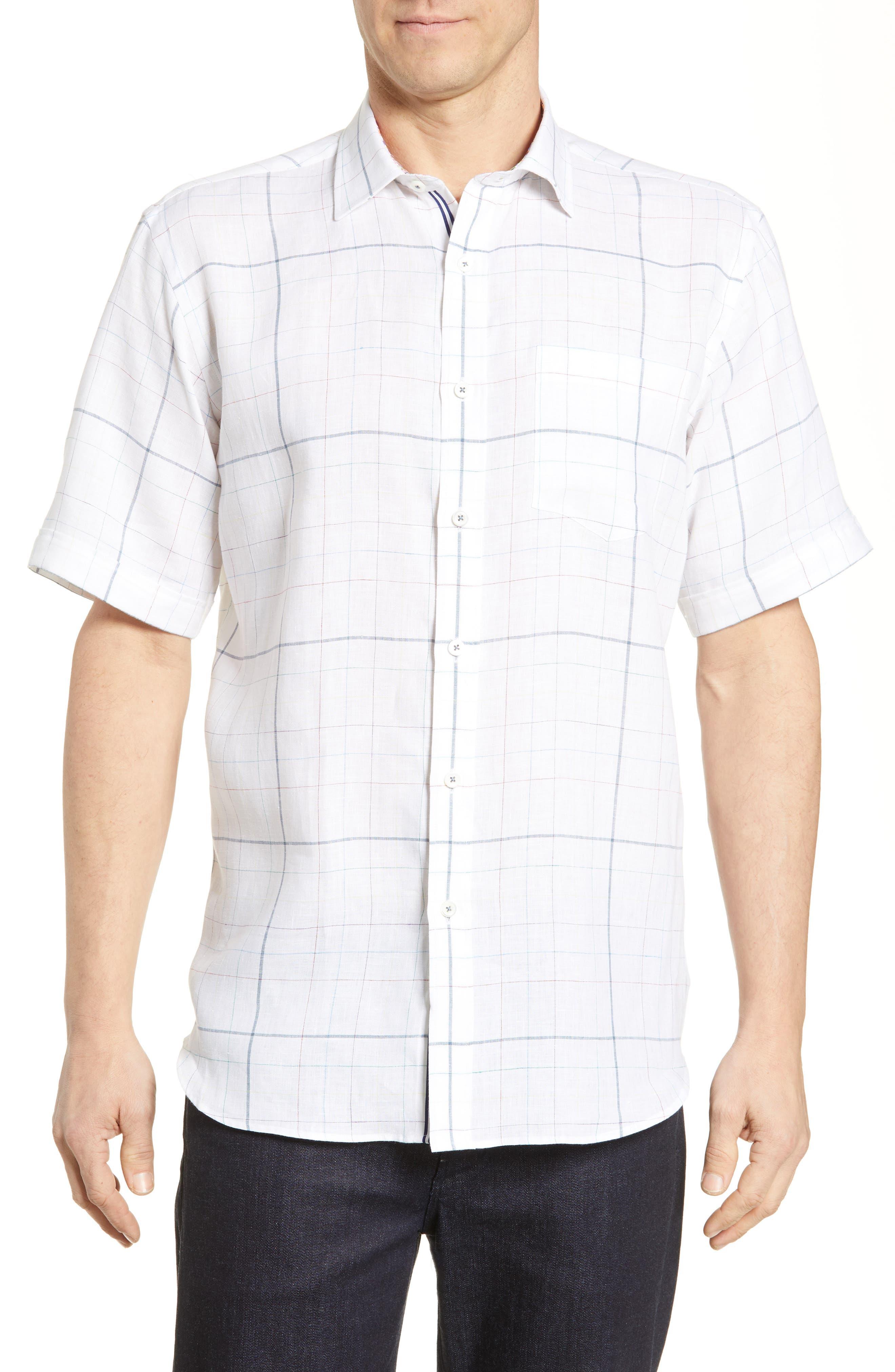 men's bugatchi classic fit grid shirt