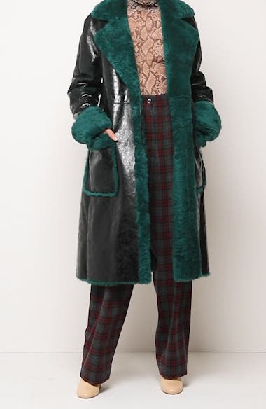 Lorca Reversible Crinkle Leather and Genuine Shearling Coat, video thumbnail