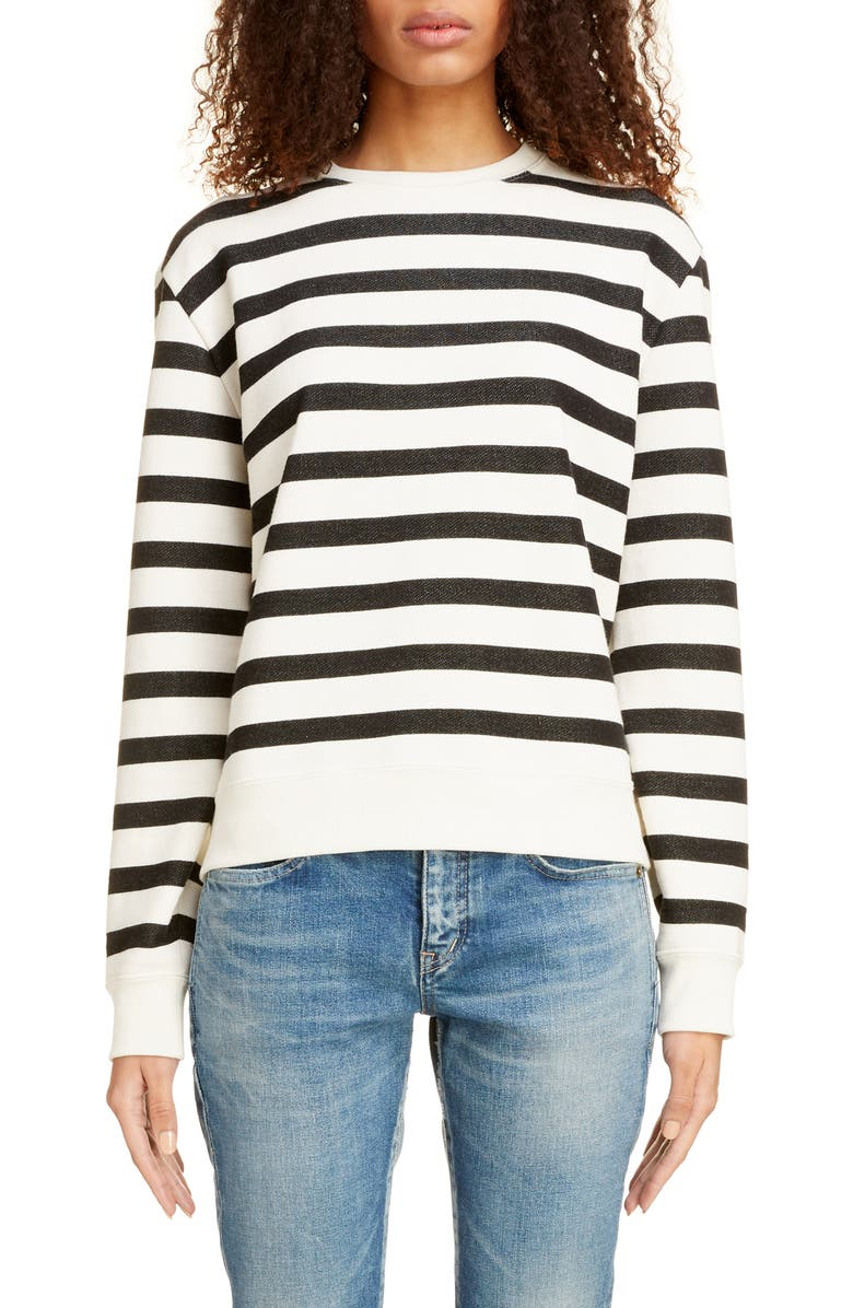 SAINT LAURENT Stripe Crewneck Sweatshirt, Main, color, NATUREL/ NOIR
