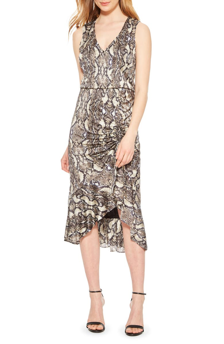 PARKER Briony Snakeskin Print Ruffle Dress, Main, color, NEUTRAL PYTHON
