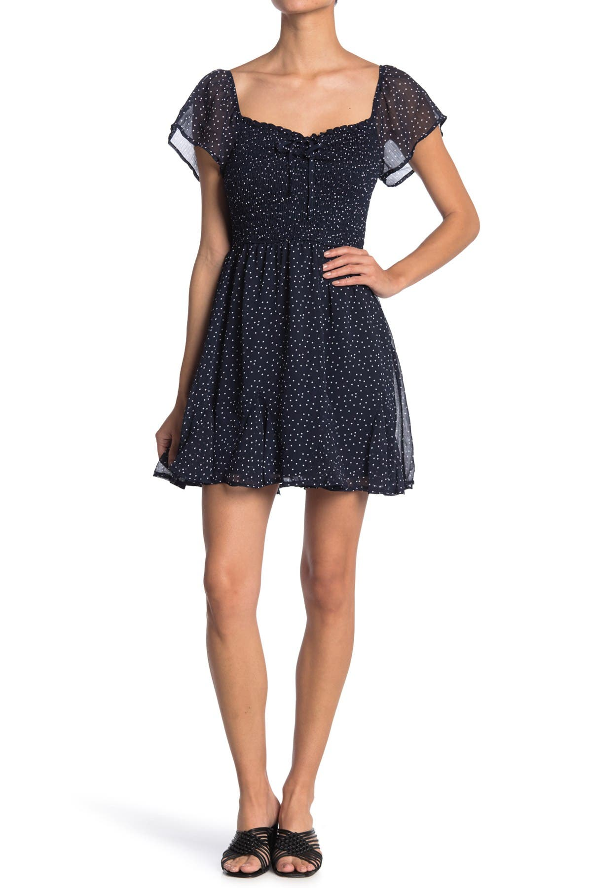 Image of ROW A Flutter Sleeve Ruched Bodice Dress