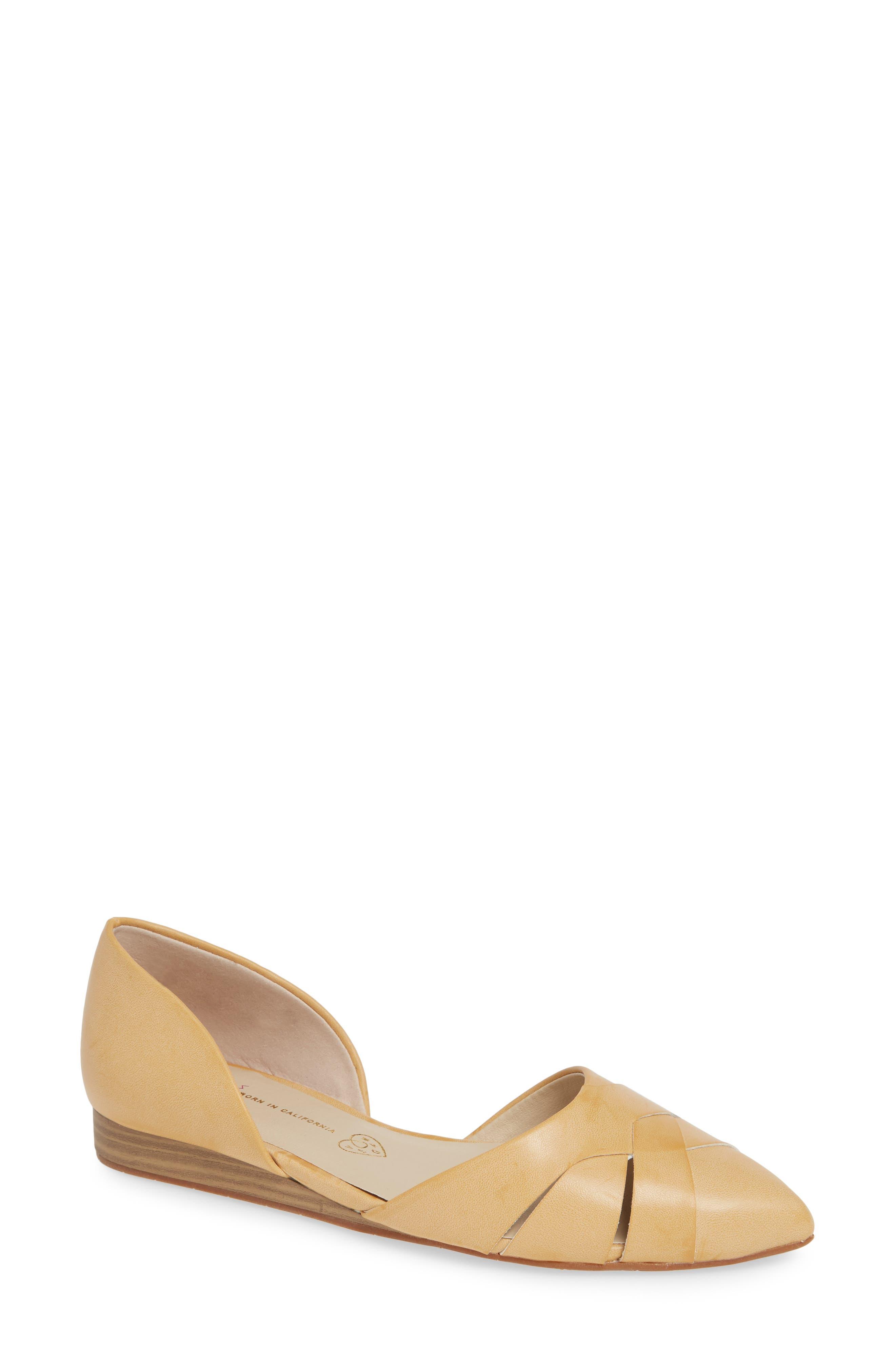 Bc Footwear Focal Point Vegan Pointy Toe Flat, Beige