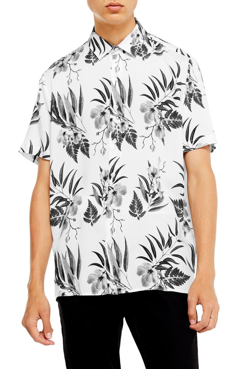 TOPMAN Floral Short Sleeve Button-Up Shirt, Main, color, CREAM MULTI