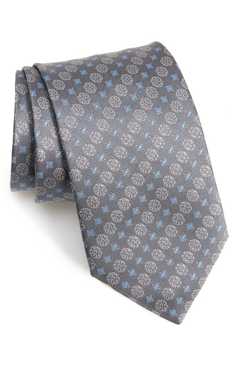 DAVID DONAHUE Medallion Silk X-Long Tie, Main, color, CHARCOAL