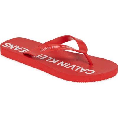 Calvin Klein Jeans Errol Flip Flop, Red