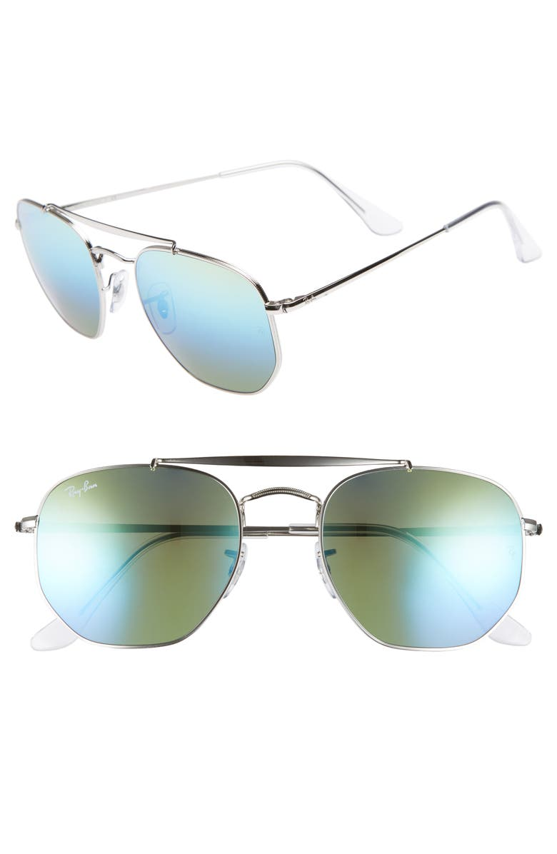 RAY-BAN Marshal 54mm Aviator Sunglasses, Main, color, BLUE/ GREEN