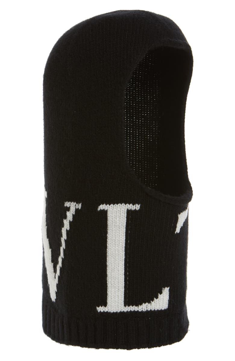 VALENTINO VLTN Wool & Cashmere Balaclava, Main, color, BLACK/ IVORY