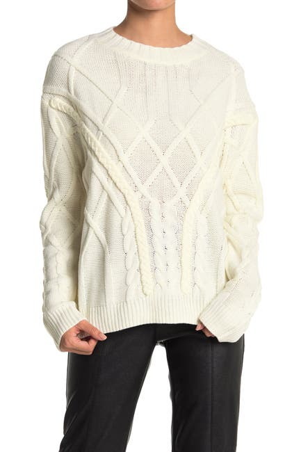 Image of Do + Be Cable Knit Crew Neck Sweater