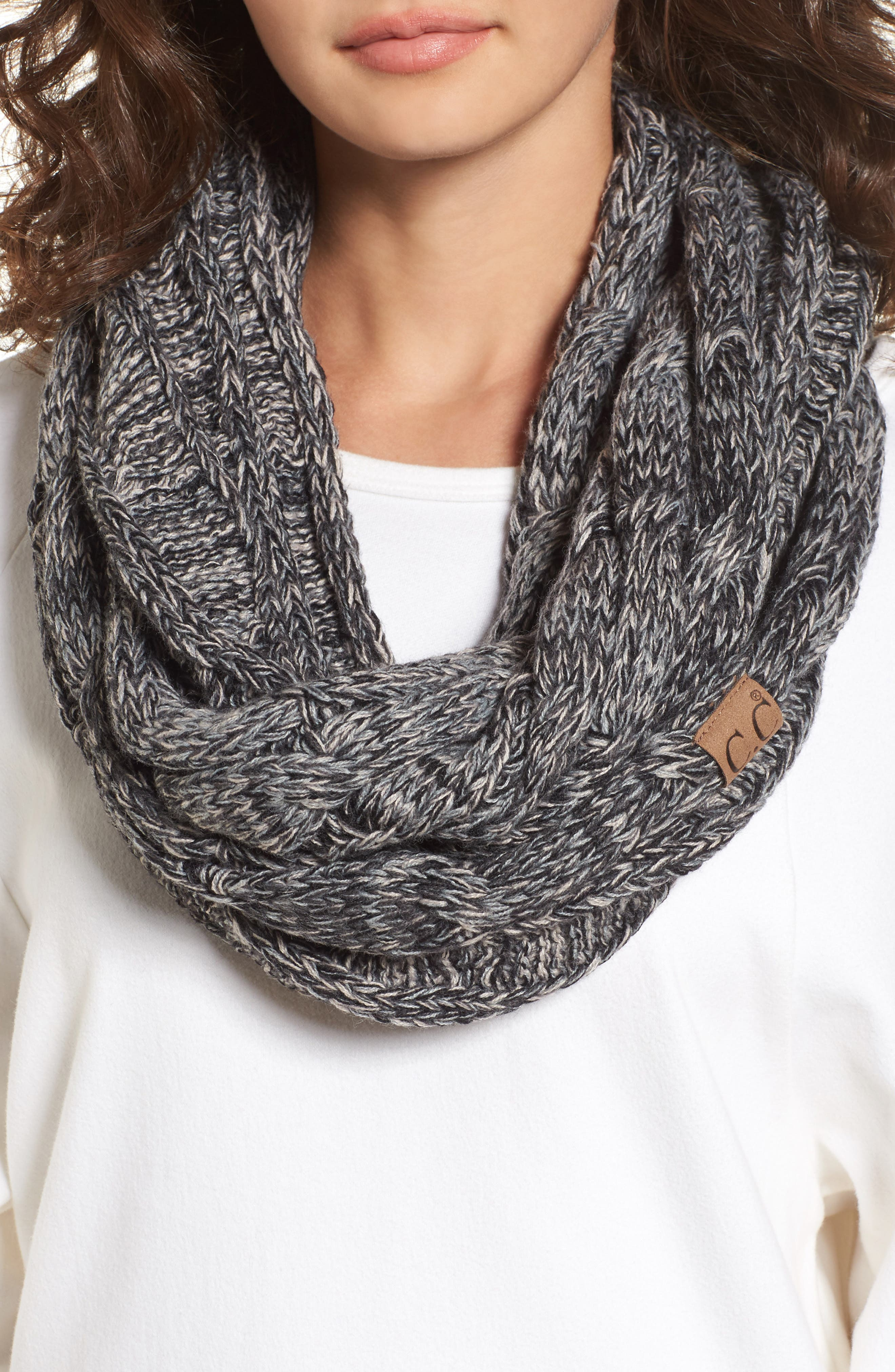 ,                             CC Knit Infinity Scarf,                             Main thumbnail 1, color,                             001