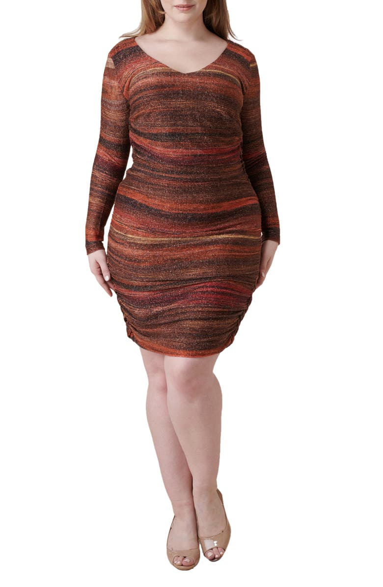 MARÉE POUR TOI Metallic Stripe Ruched Long Sleeve Sheath Dress, Main, color, RUSSET