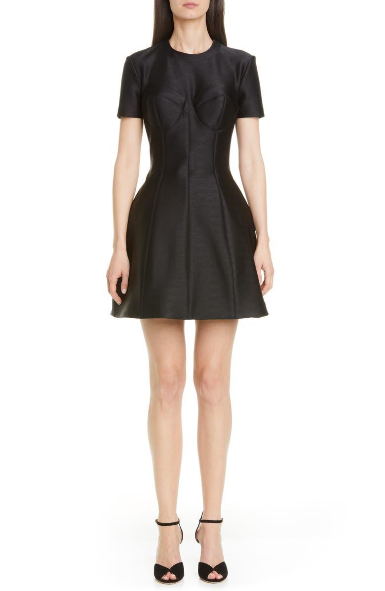BRANDON MAXWELL Bustier Seam Bubble Minidress, Main, color, BLACK