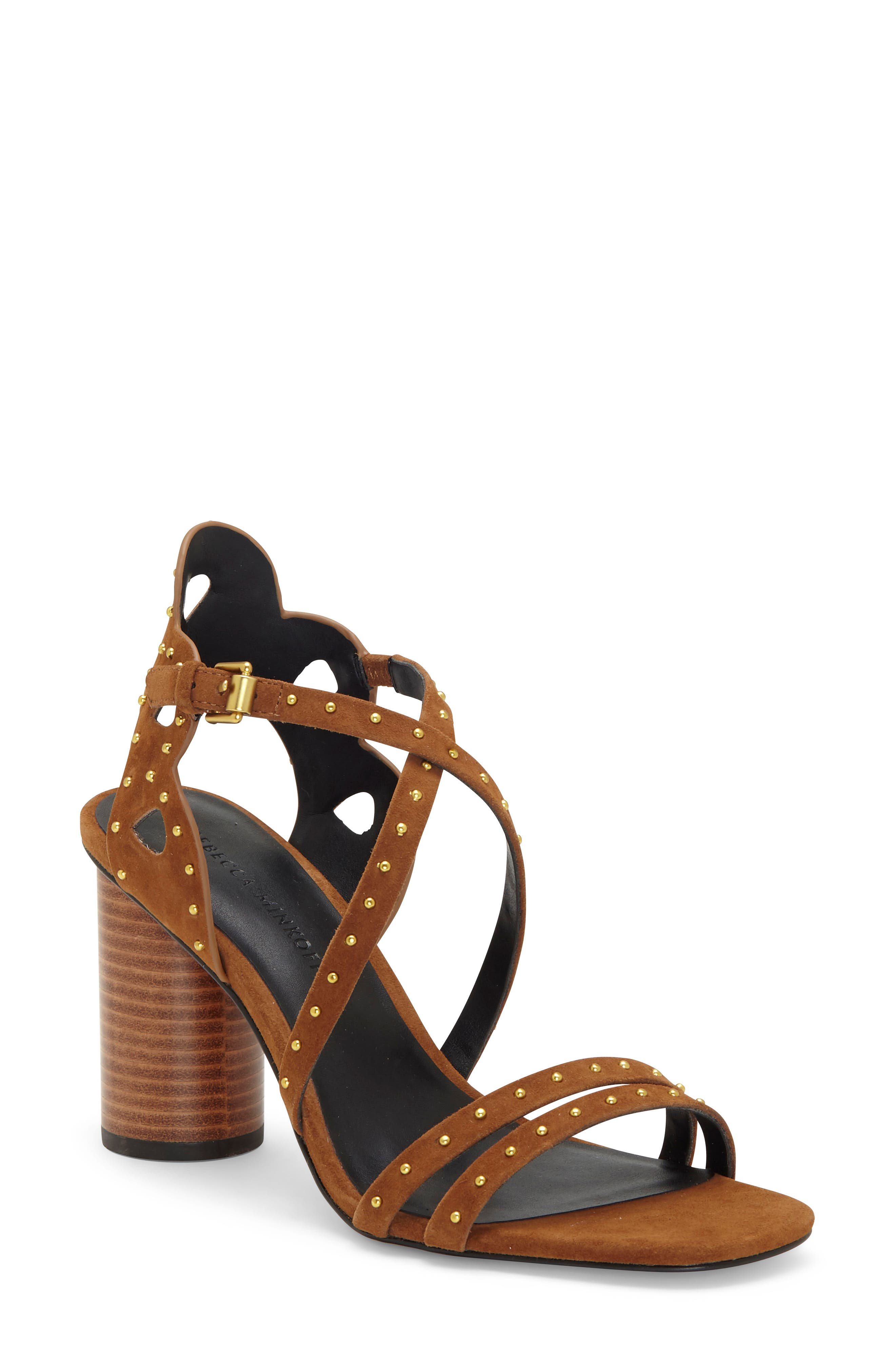Pinpoint studs illuminate the crisscrossing straps of a lofty block-heel sandal that\\\'s ready to steal the scene. Style Name: Rebecca Minkoff Adeleine Block Heel Sandal (Women). Style Number: 6023432. Available in stores.