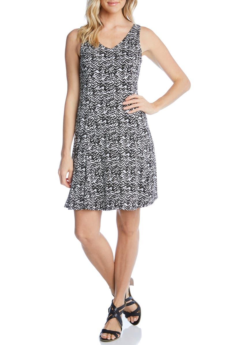 KAREN KANE Sleeveless Dress, Main, color, BLACK WITH WHITE