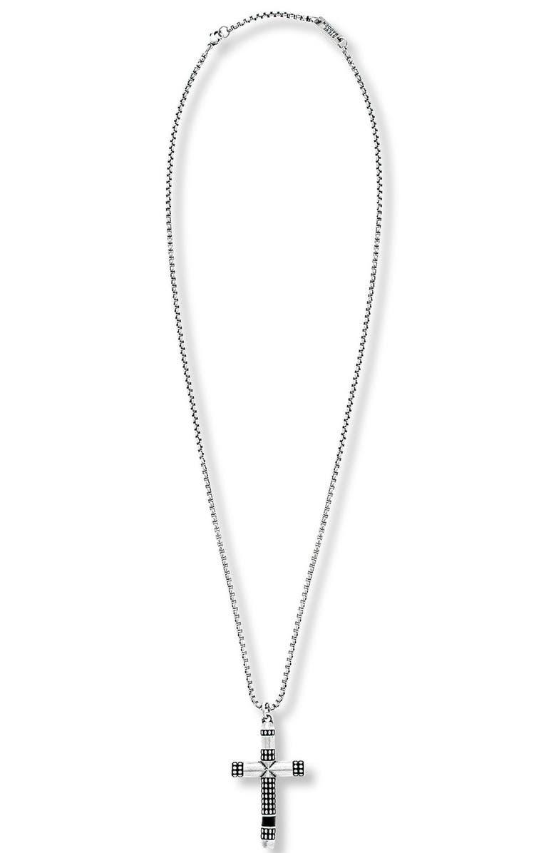 STEVE MADDEN Textured Cross Pendant Necklace, Main, color, 040