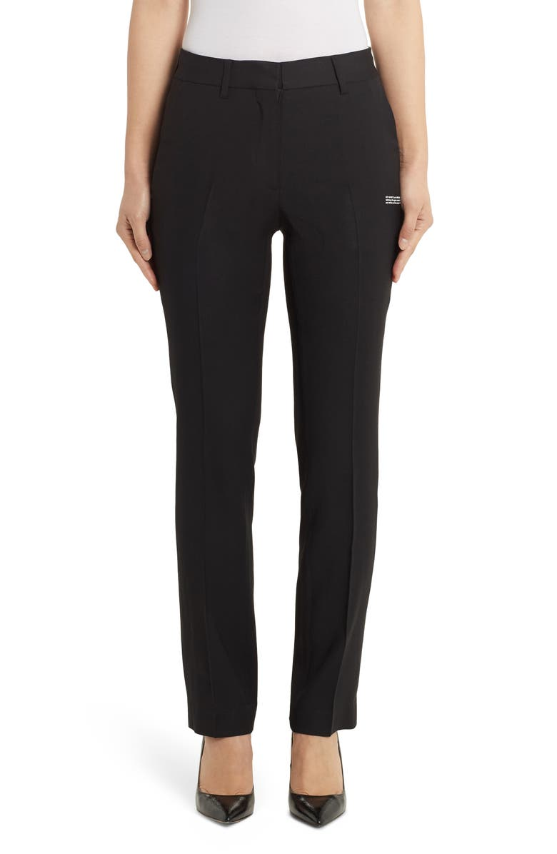 OFF-WHITE Slim Cigarette Pants, Main, color, BLACK