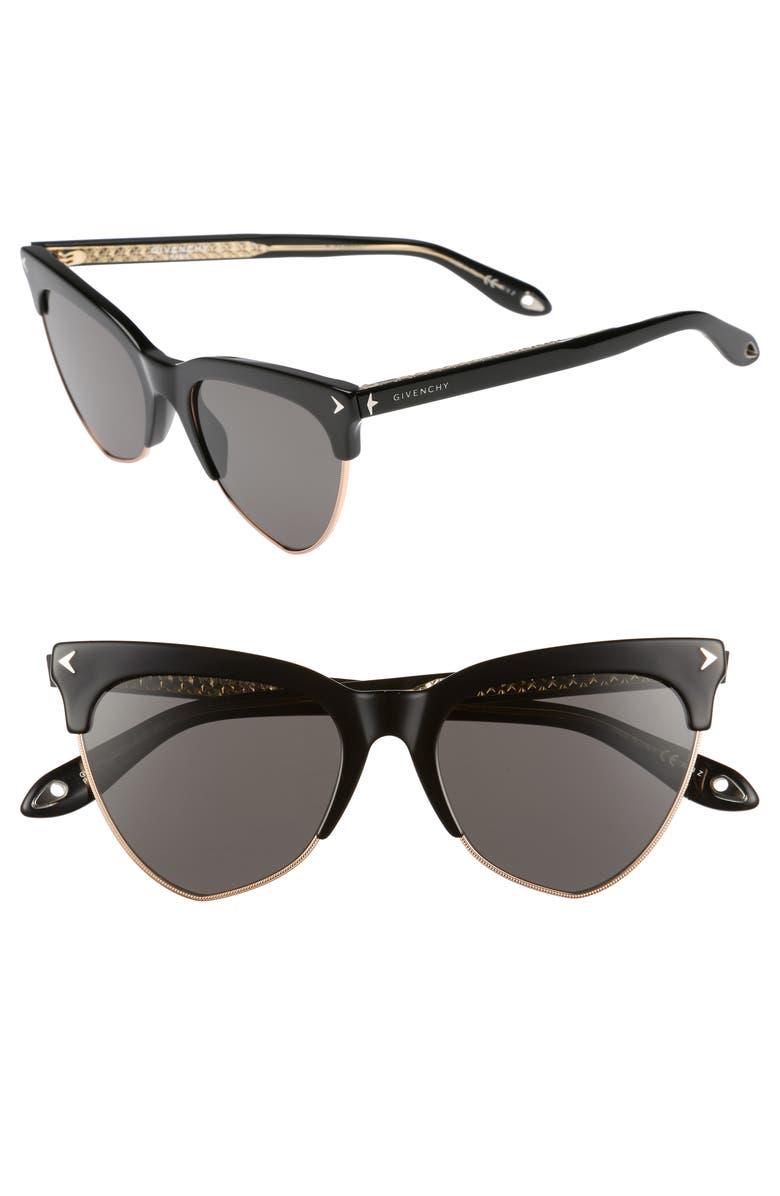 GIVENCHY 54mm Polarized Cat Eye Sunglasses, Main, color, BLACK/ POLAR