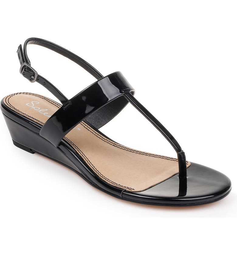 SPLENDID Swain T-Strap Wedge Sandal, Main, color, BLACK PATENT