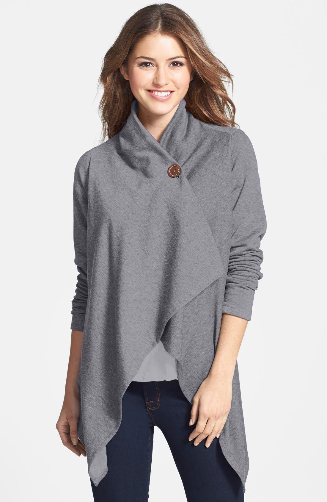 ,                             One-Button Fleece Wrap Cardigan,                             Main thumbnail 48, color,                             020