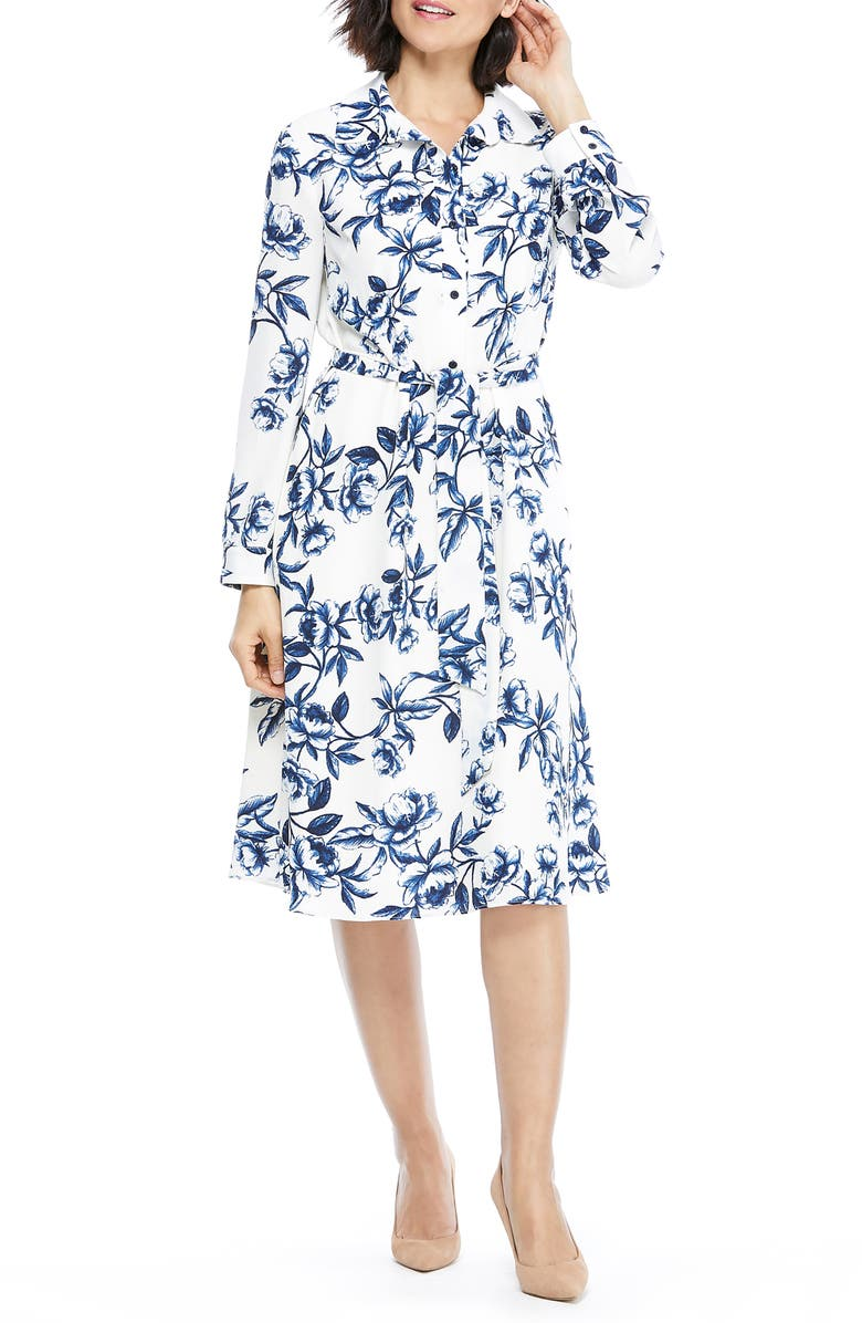 MAGGY LONDON Floral Long Sleeve Shirtdress, Main, color, SOFT WHITE/ NAVY