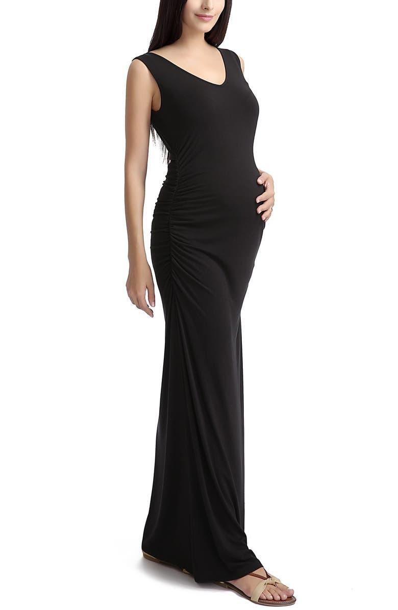 KIMI AND KAI 'Jane' V-Neck Maternity Maxi Dress, Main, color, BLACK