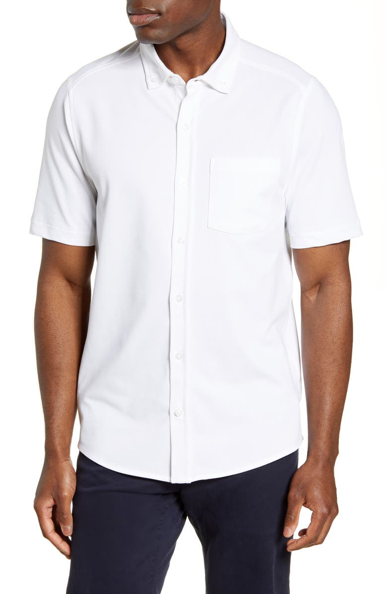 CUTTER & BUCK Reach Short Sleeve Oxford Button-Down Sport Shirt, Main, color, WHITE