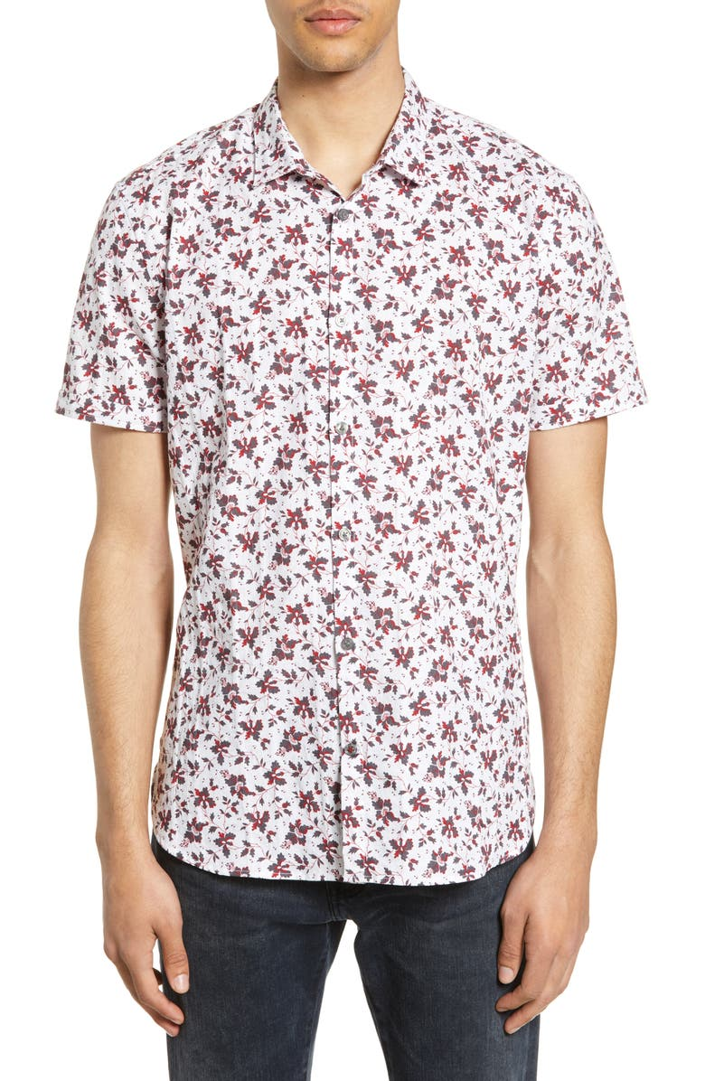 JOHN VARVATOS STAR USA Jasper Slim Fit Floral Shirt, Main, color, WHITE